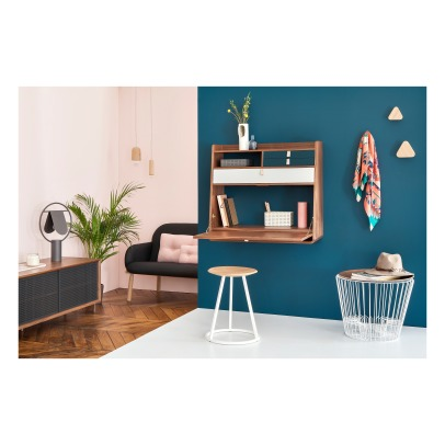 Hartô Gaston Wall Mounted Walnut Desk - 80cm Florence Watine - Chalkboard Grey and Light Grey-product