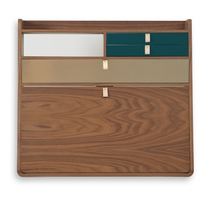 Hartô Gaston Wall Mounted Walnut Desk - 80cm Florence Watine - Petrol Blue and Brushed Brass-listing