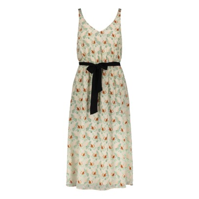 Des petits hauts Selena Monkey Print Belted Silk Maxi Dress-listing