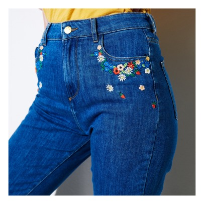 Des petits hauts Luvine Flower Embroidered Mom Jeans-listing