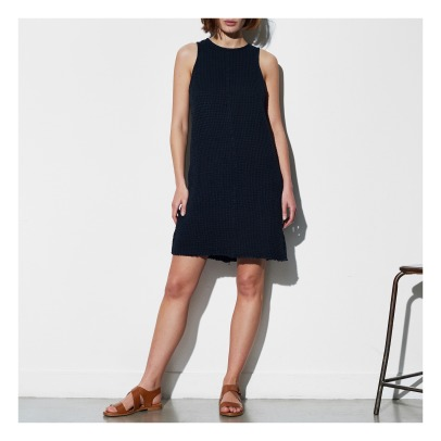 Masscob Cut Out Bac Cotton and Linen Honeycomb Straight Dress-listing