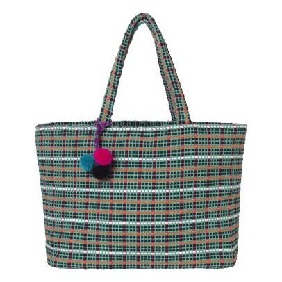 Beck Sönder Gaard Checka Checkered Bag with Pompoms-listing