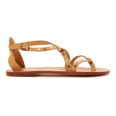 Leon & Harper Sumatra Cross Leather Flat Sandals-listing
