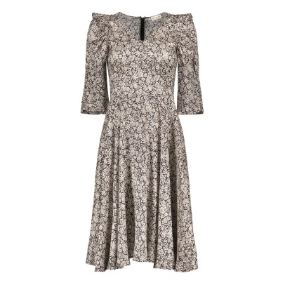 Masscob Flower Silk Midi Dress-listing