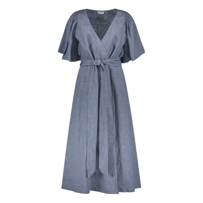 Masscob Linen Belted Wrap Dress-listing