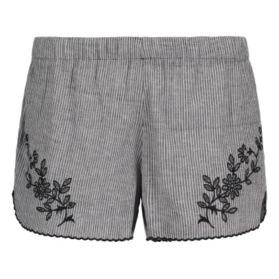 Soeur Veilleuse Bis Embroidered Stripe Shorts-listing
