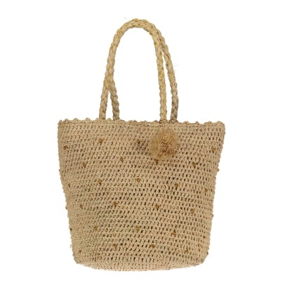 Obi Obi Crochet Straw Tote With Gold Plumetis Details-listing
