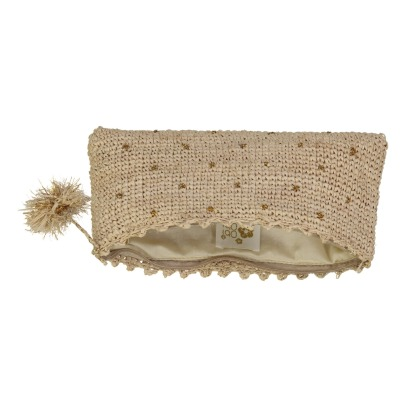 Obi Obi Crochet Straw Pouch With Gold Plumetis Details-listing