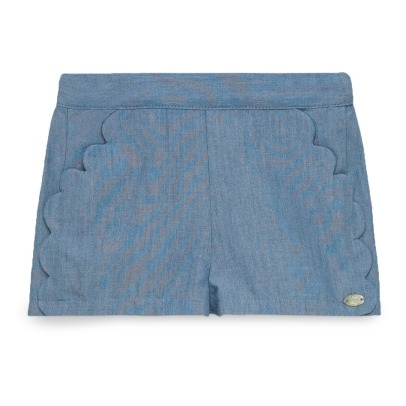 Tartine et Chocolat Scalloped Chambray Shorts-listing