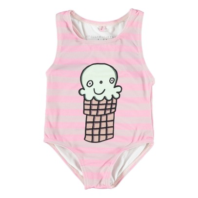 Stella McCartney Kids Molly Ice Cream Striped 1 Piece Swimsuit-listing