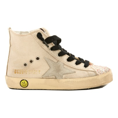 Golden Goose Deluxe Brand Glitter Toe Lace-Up and Zip Canvas Francy High Top Trainers Off white-listing