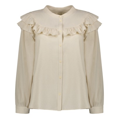 Masscob Ruffled Silk Noil Blouse-listing
