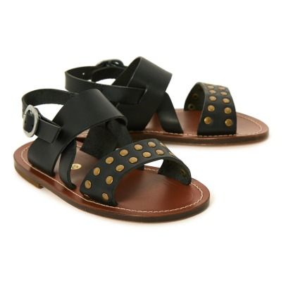 Pèpè Two Con Me - Leather and Stud Buckle Sandals-listing