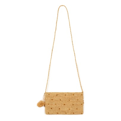 Obi Obi Crochet Straw Bag With Gold Plumetis Details-listing