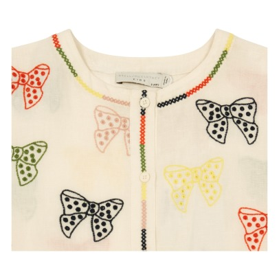 Stella McCartney Kids Kaylee Embroidered Bow Linen and Cotton Buttoned Dress-listing