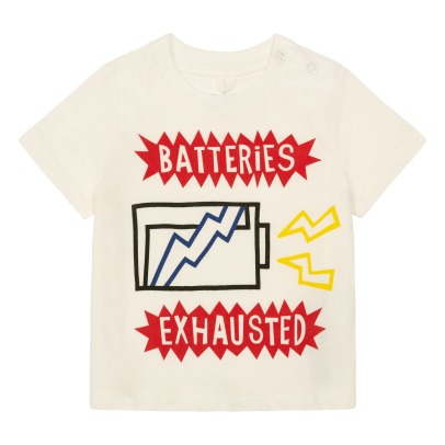 "Stella McCartney Kids T-Shirt Coton Bio ""Batteries Exhausted"" Arrow-listing"