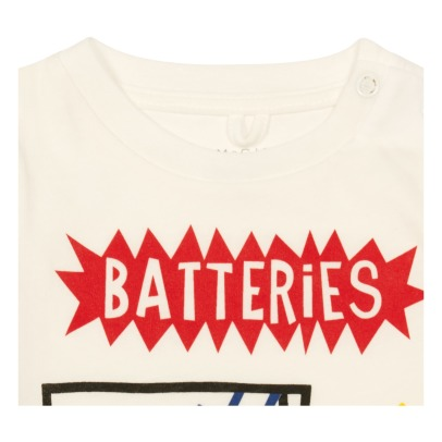"Stella McCartney Kids T-Shirt aus Bio-Baumwolle ""Batteries Exhausted"" Arrow -listing"