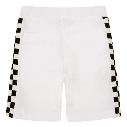 Stella McCartney Kids Abi Checked Band Organic Cotton Fleece Shorts-listing