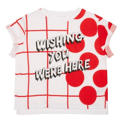 Stella McCartney Kids Plum Dot Checked Organic Cotton T-Shirt-listing