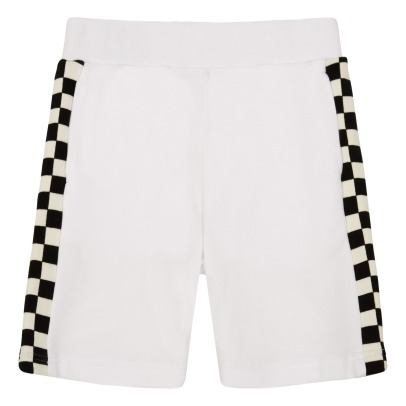 Stella McCartney Kids Short Molleton Coton Bio Bandes Carreaux Abi-listing