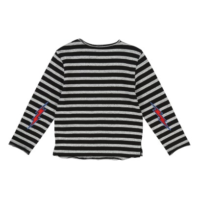Zadig & Voltaire Jackson Striped T-shirt with Thunderbolt Patches -listing