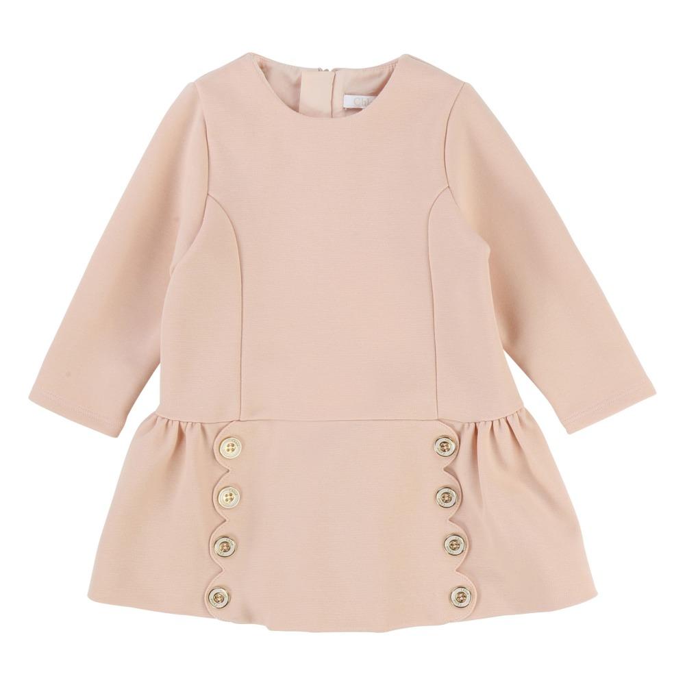 Vestido Milano Botones Grabados Rosa Polvo Chloé Moda Bebé