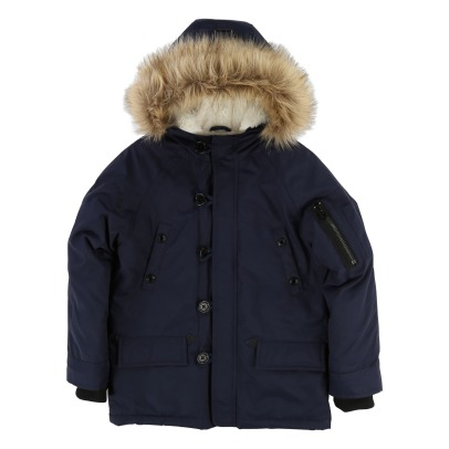 Little Marc Jacobs Furred Linen Waterproof Jacket -listing