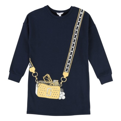 Little Marc Jacobs Robe Molleton Sac en Trompe L'Œil Strass-listing