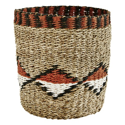 Madam Stoltz Patterned Seagrass Basket -listing
