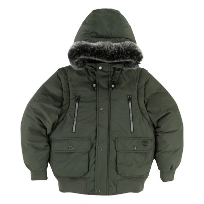 Timberland Waterproof Down Jacket With Removable Hood and Reflective Striped-listing
