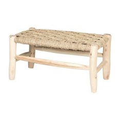 product-Smallable Home Banc en bois et feuille de palmier L60 cm x H30 cm