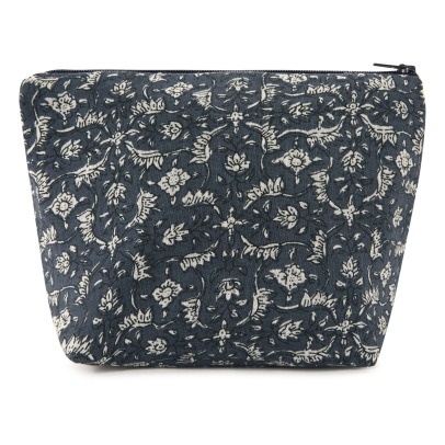 Scarlette Ateliers Marge Block Print Blue Flowers Cotton Pouch-listing