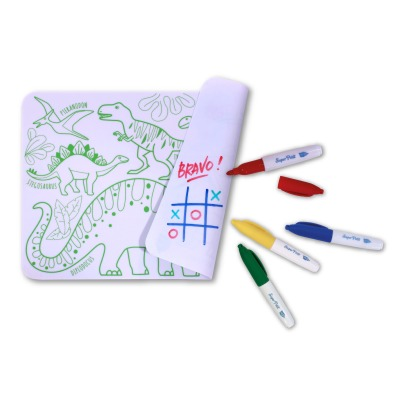 Superpetit Mini Reversible Coloring Placemats With 4 Felt Pens - Dinosaur-listing
