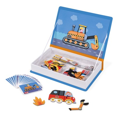 Janod Race Car Magnetic Book - 50 magnets -listing