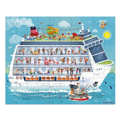Janod Cruise Boat Puzzle - Set of 2 Puzzles - 100 and 200 Pieces -listing