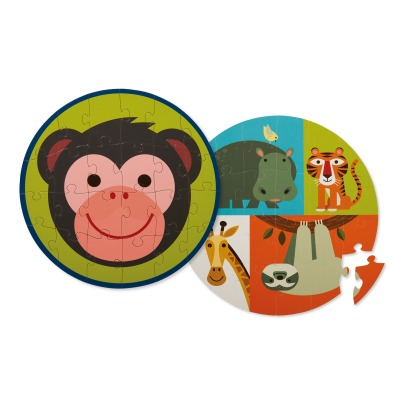 "Crocodile Creek ""Monkey and its Friends"" Round Double-Face Puzzle - 24 Pieces -listing"