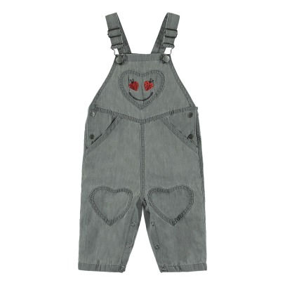 Stella McCartney Kids Olive Heart Patches Dungaree-listing