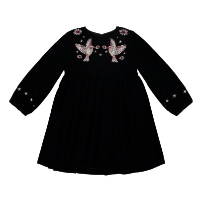Stella McCartney Kids Georgina Hummingbird Embroidered Velvet Dress-listing