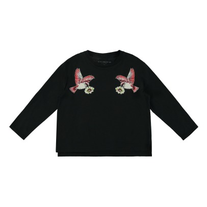 Stella McCartney Kids Farah Hummingbird Organic Cotton Cropped T-shirt-listing