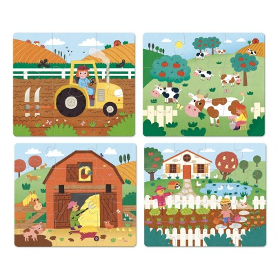 Vilac The Farm Puzzle - Set of 4 -listing