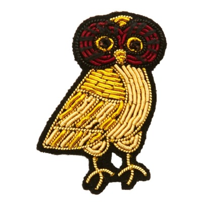 Macon & Lesquoy Embroidered Owl Brooch-listing