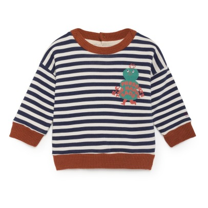 Bobo Choses Organic Cotton Striped Sweatshirt-listing