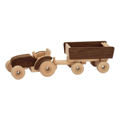 Goki Wooden Tractor with Trailer-listing