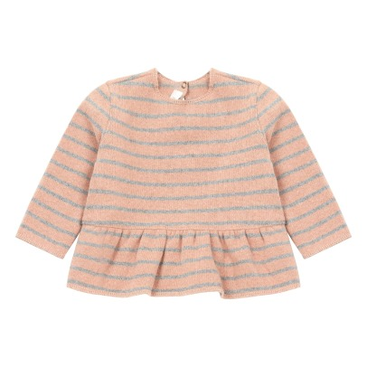 Zhoe & Tobiah Frilled Striped Knitted Jumper -listing