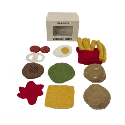 Papoose Felted Wool Burger and Fires -listing