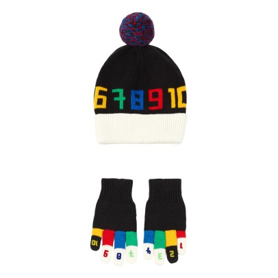 Stella McCartney Kids Ace + Twiddle Organic Cotton and Merino Wool Gloves and Hat set -listing