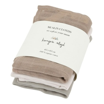 Konges Slojd Organic Cotton Swaddles - Set of 3 -listing